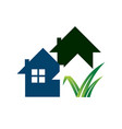 gardening landscaping logo design lawn and house vector image vector image