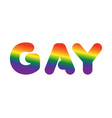 gay sign of rainbow letters letitiging for lgbt vector image vector image