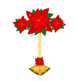 Golden Bell and Poinsettia Flowers with Bows vector image vector image