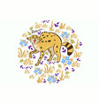 greeting card with a growling serval graphics vector image