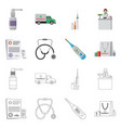 isolated object of pharmacy and hospital sign set vector image vector image
