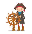 little boy dressed as sailor pirate captain vector image