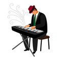 man in hat play on classical instrument vector image vector image
