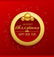 merry christmas design with golden frame and balls vector image vector image