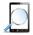 Mobile phone with magnifying glass vector image vector image