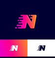 n letter winds movement dynamic logo velocity deli vector image vector image