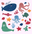 ocean or sea marine inhabitants underwater life vector image vector image