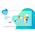 people summertime water sport activity sup board vector image