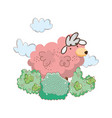 pink sheep farm with garden vector image