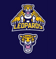 pounching leopard mascot vector image vector image