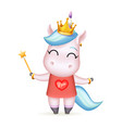 princess fairy happy girl unicorn golden crown vector image vector image