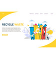 recycle waste website landing page design vector image vector image