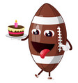 rugball eating cake on white background vector image