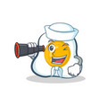 sailor fried egg character cartoon with binocular vector image vector image