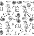 school girl white seamless pattern vector image vector image