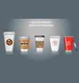 set mock up realistic coffee cup containers vector image