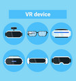 set vr devices icons modern virtual reality vector image