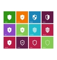Shield icons on color background vector image