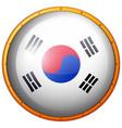south korea flag on round button vector image