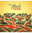thank you gold typographic card with ink floral vector image