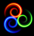 three an abstract colorful swirls on black vector image