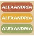 Vintage Alexandria stamp set vector image