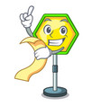 with menu road traffic sign on the cartoon vector image