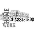 work at home classifieds text word cloud concept vector image vector image