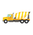 yellow concrete mixer truck heavy industrial vector image vector image