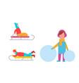 childrens winter activities vector image