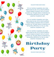 birthday party poster or invitation with cute vector image