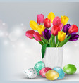 easter background with colorful eggs and tulips vector image