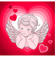 little angel with wings cupid heart vector image