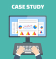 Case study concept with computer device vector image