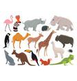 cute wild animals in cartoon style vector image
