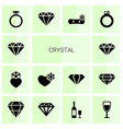 14 crystal icons vector image vector image