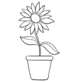 A flower and a pot sketch vector image