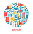 airport banner with air travel icons set in circle vector image vector image