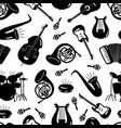 black and white music instruments seamless pattern vector image vector image