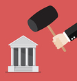 Business man handle a hammer to destroy a bank vector image vector image