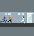 business people and robot competing to job door vector image vector image