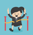 business woman reaching finish line vector image