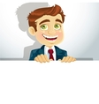Businessman with horizontal big blank poster for vector image vector image