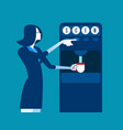 businesswoman with coin dispenser machine concept vector image vector image