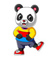 cartoon happy panda with smile wearing sport shirt
