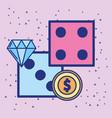 casino dices double coin money cartoon design vector image