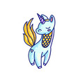 charming colorful unicorn drawing vector image vector image