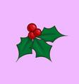 christmas cartoon icon - holly mistletoe vector image vector image