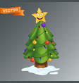 christmas tree decorated with a smiling yellow vector image vector image