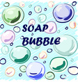 Colored soap bubbles hand-drawn on a blue vector image vector image